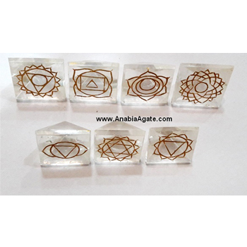 Chakra Engraved Crystal Pyramid set : Wholesale Chakra Set : Crystal Pyramid Set With Chakra Symbol