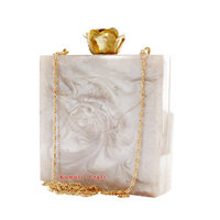 White glitter square handmade resin acrylic box clutch with flower knob