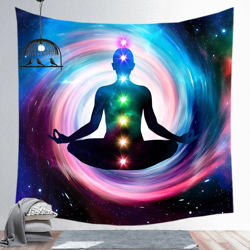 Impreso personalizado oriental psicodélico muro colgante meditación yoga tapiz