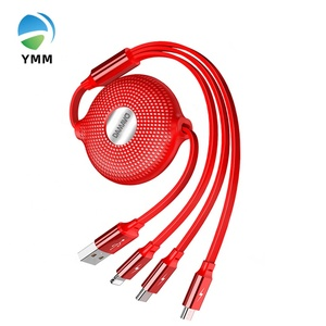 YMM YML6124 DAMAVO 5A 8PIN 3 port  magnetic usb cable Micro retractable usb Type C Fast Charging 3 in 1 Data Cable for Iphone