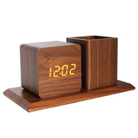 Fancy Home Decor Office Table Supply Voice Control LED Digital Wood Pen Holder Alarm Clock