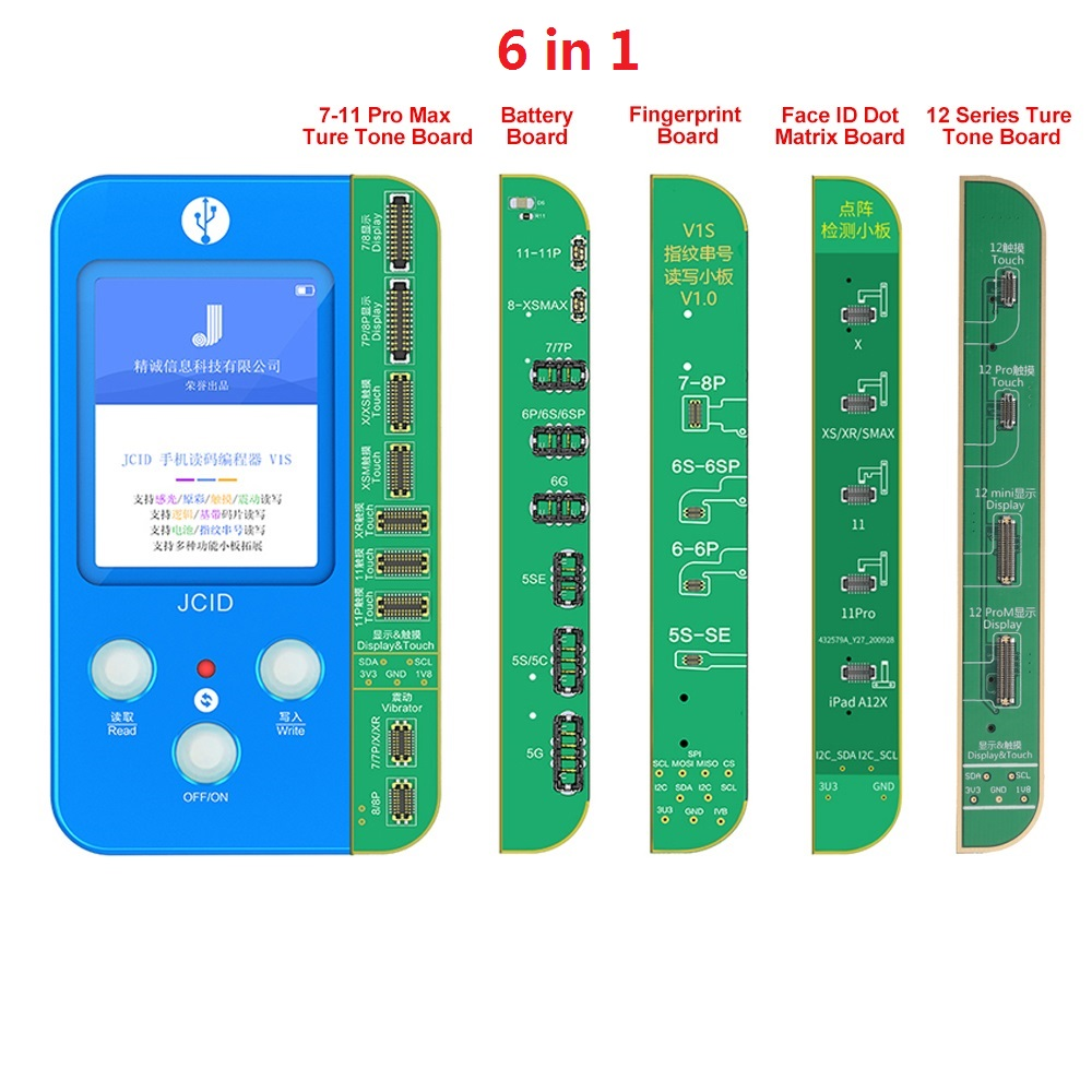Hot JC V1S repair True Tone face ID fingerprint battery 6 in 1 mobile phone Code Reading programmer For iphone 7 to 12 Pro Max, Blue