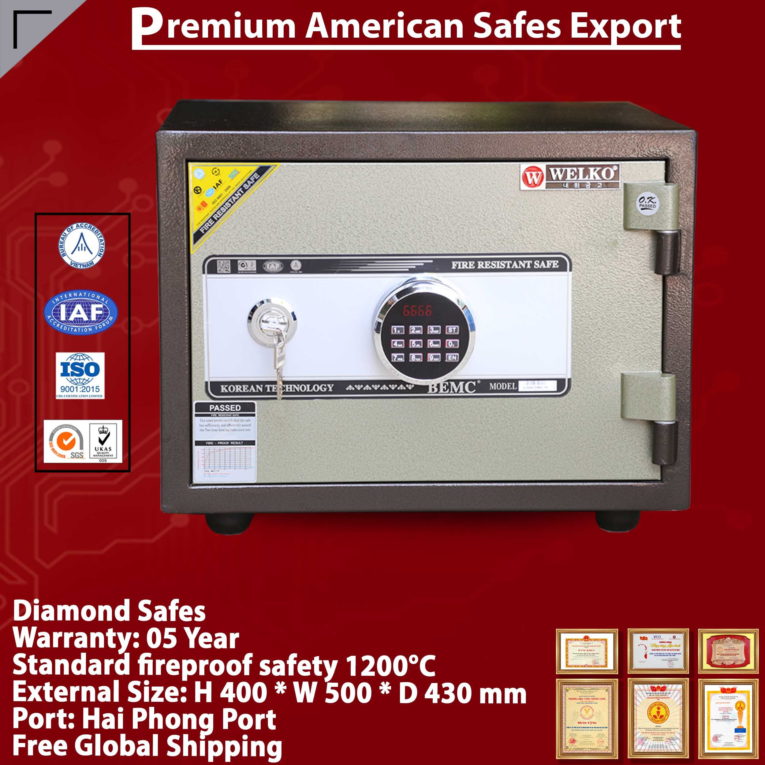 Diamond Safe KS80N LED Brown