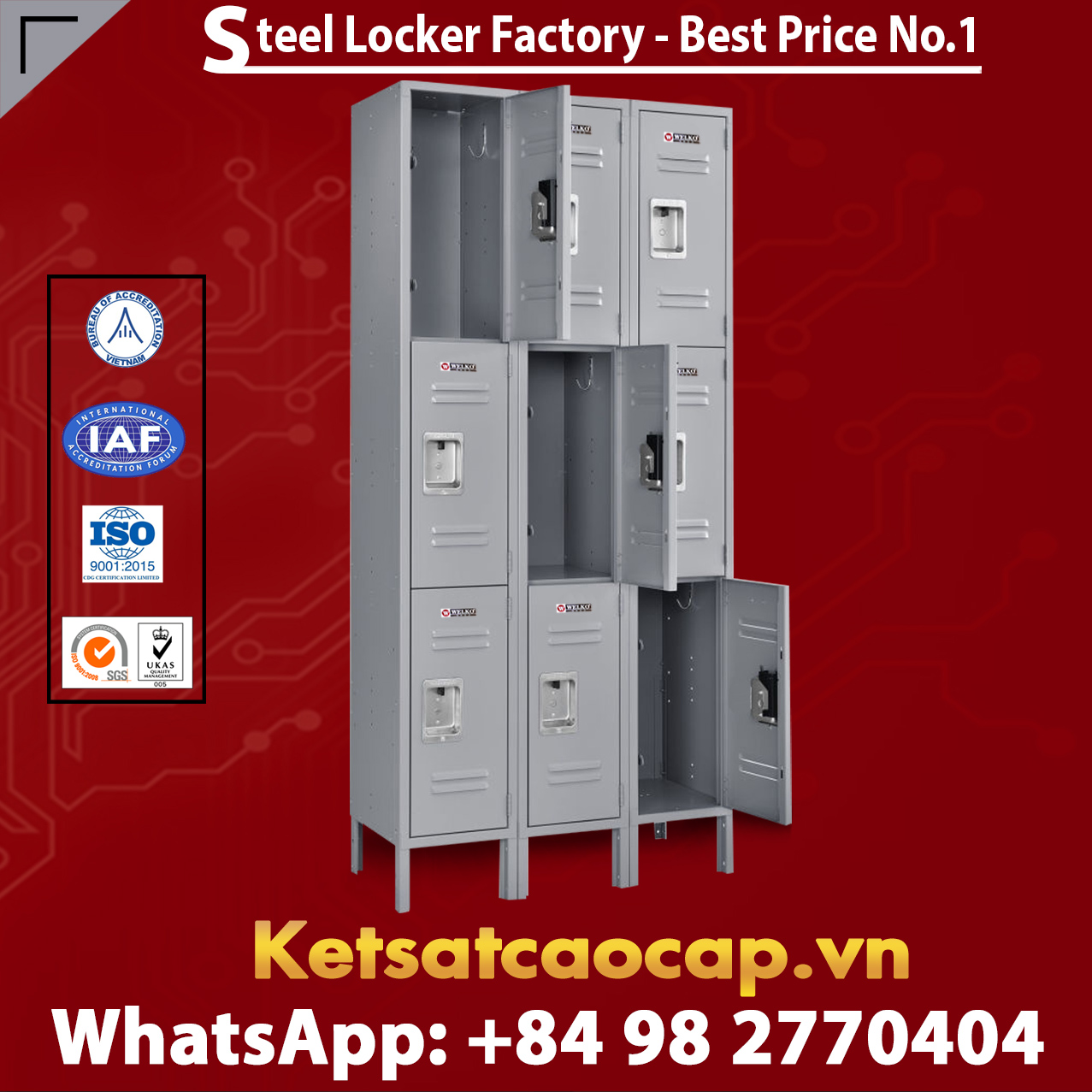 Steel Locker 3 Tier 12 x 15 x 24 9 Door Ready To Assemble Gray