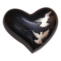 Flying Doves Black Small Heart Keepsake