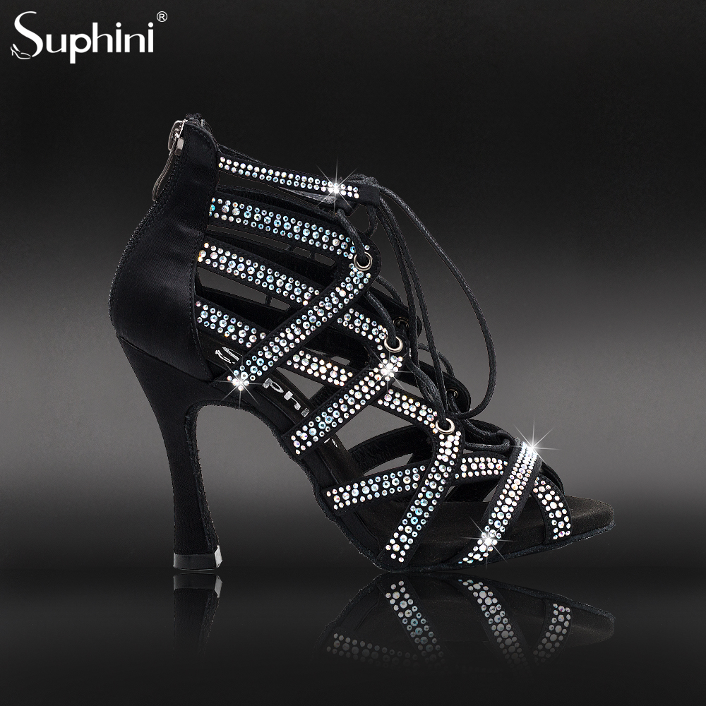 Suphini New Arrivals Black Satin With Full Sparkle Lace Up Zipper Rhinestone Latin Salsa Shoes Bachata Party Dance Boots