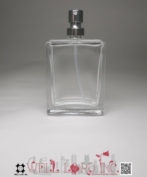 True color injection 30ml perfume glass bottle with crimp silver spray