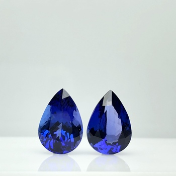 Best Royal Blue Pear Pair 11 cts Top 100% Natural Tanzanite for Platinum Wedding Earring TAKAT - Rare & Unique gems