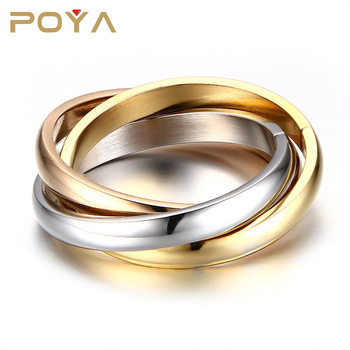 POYA Jewelry Stainless Steel Trio Rolling Ring Wedding Bands Comfort Fit