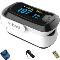 MIBEST Black Dual Color OLED Finger Pulse Oximeter - Blood Oxygen Saturation Monitor with Color OLED Screen Display