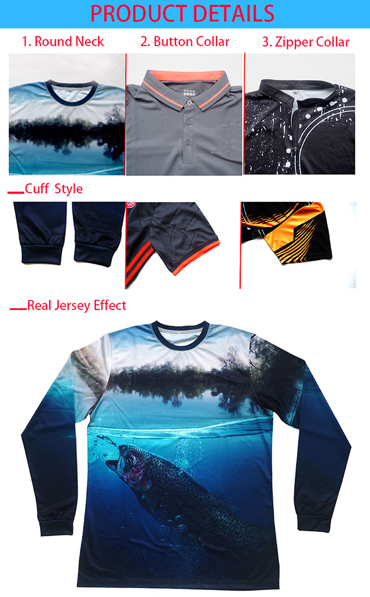 design breathable sublimated Quick dry custom performance mens fishing apparel