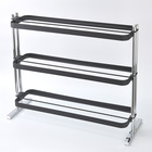 3-Tier Rectangle Sand Black Coating Wire Shoe Rack
