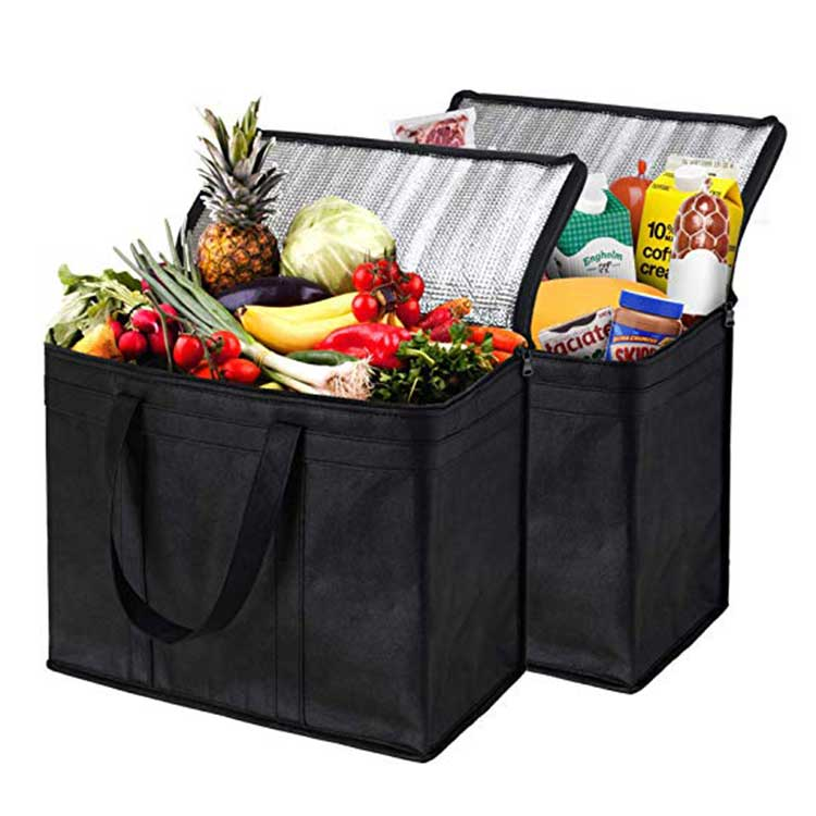 Manufacture Foldable Non woven Cooler Bag, Shopping Insulated Food Delivery Tote Bag, Promotional non woven cooler bag