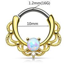 Титановая пустышка, 16 г, кристальная перегородка, кольцо, кликер, опал, для носа, пирсинг кольцо, украшения для пирсинга(China)