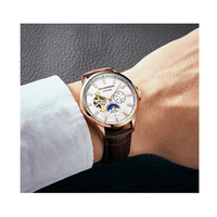 Automatic Waterproof Man Watch Mechanical Leather Rose Gold Skeleton Business Relogio Masculino