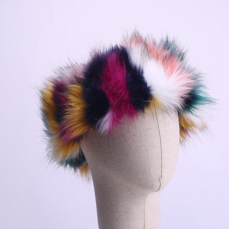wholesale colorful winter furry faux fox fur women <strong>headband</strong>