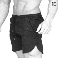 High Quality Men's Gym Fitness 100% cotton Drying Workout Shorts Running Short Pants with Pockets Training Shorts