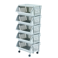 Plastic Rack 5 Tier Shelving with Wheels #5995