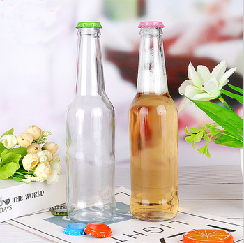 Hot Sell clear 330ml Empty Glass Beer Bottle for Sparkling Wine Alcohol Juice Beverage with metal Crown Cap