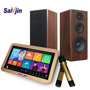 Karaoke system portable player with UHF wireless  microphone and powered mixer amplifier speaker