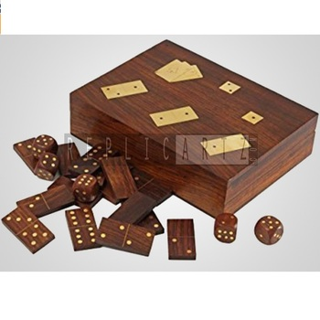 Dominoes & Dice Set With Playing Card Holder Hand Carved