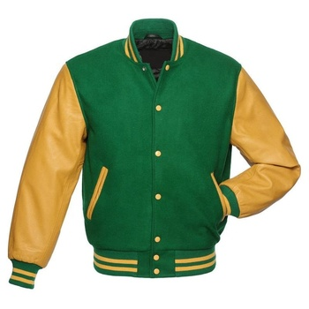 Wholesale Custom made Gold Yellow Versity Leather Sleeve Kelly Green Wool Jacket Letterman Bomber Baseball Jacket