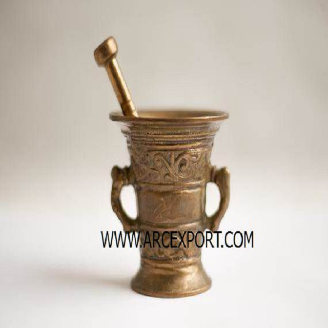 marble brass inlay mortar & pestle