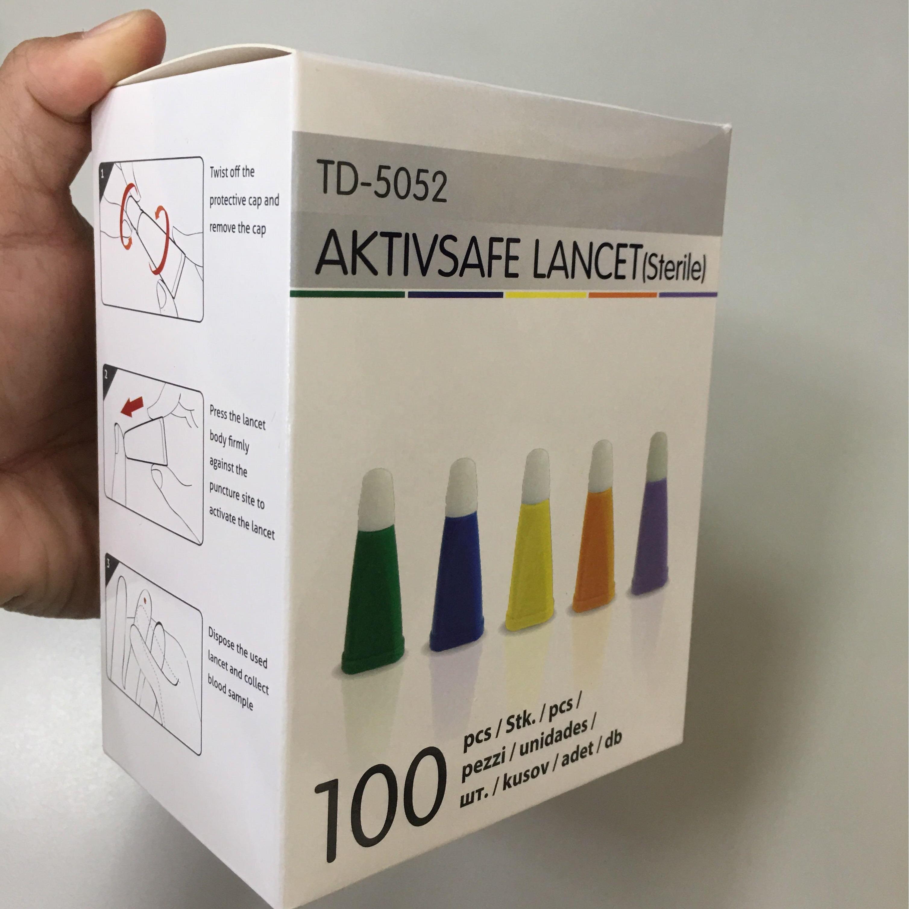2.2 Mm Wegwerp Naald Veiligheid Roestvrij Bloedlancet Pen Met 100 Stuks