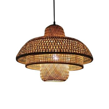 Bamboo lights Rattan Chandelier Pendant Lampshade Room Ceiling Lamp Farmhouse Pendant Light