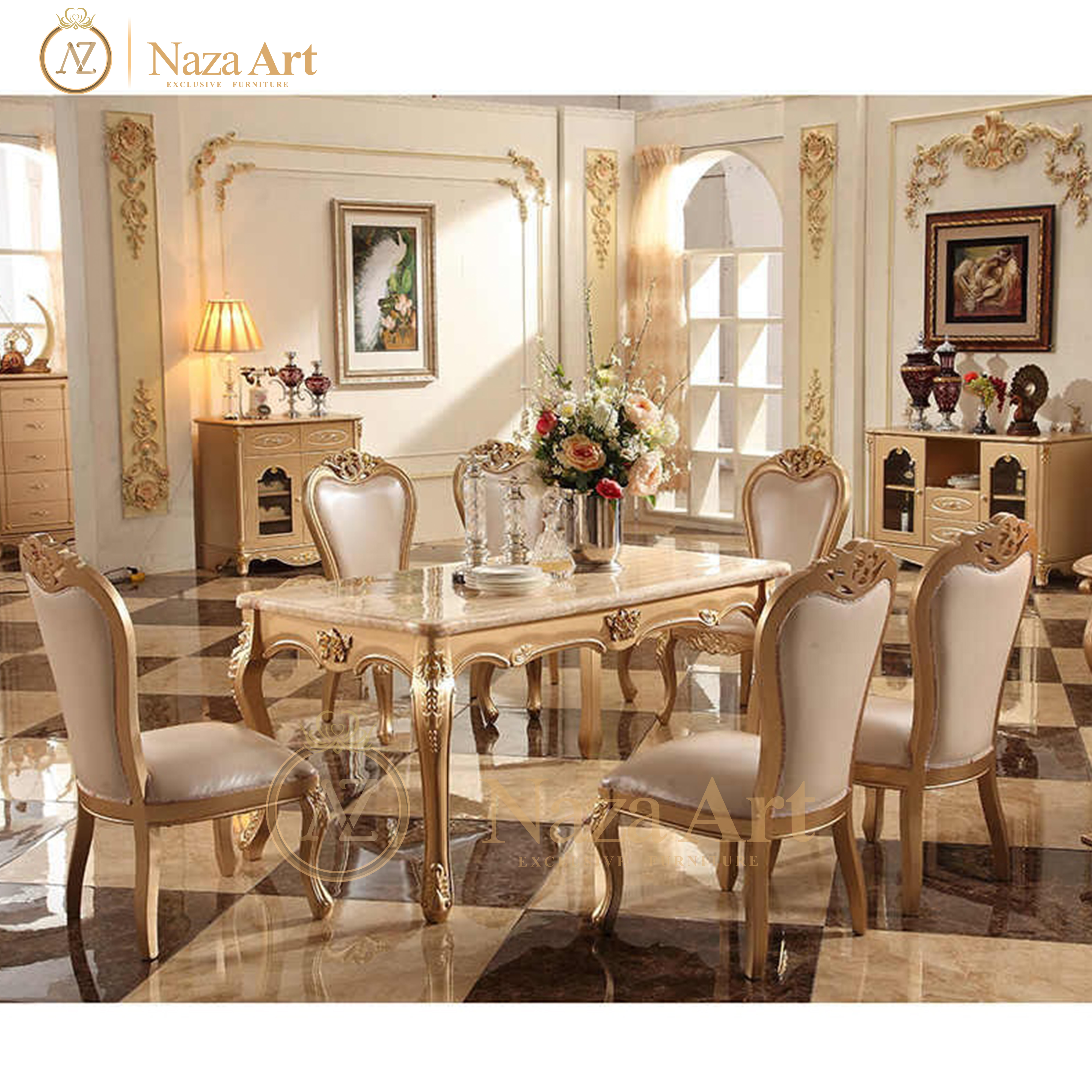 Dining Table Luxury Antique Italian Style Classic With Solid Wood ...