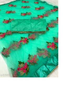 Indian traditional Designer party wear Embroidery silk Saree with Blouse