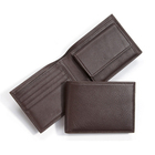 Mens Card Wallet Custom Durable Genuine Leather Mens Bifold Card Wallet With Coin Pocket