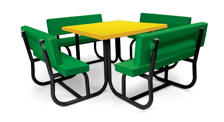 Plastic and Powder Coated Robust and Maintenance Free School Furniture Desk and Chair for 8 Children