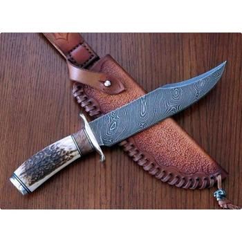 High Grade Hunting Knife Damascus Steel Stag Horn Handle Outclass Fixed Blade Bowie Knife (HMZ846)