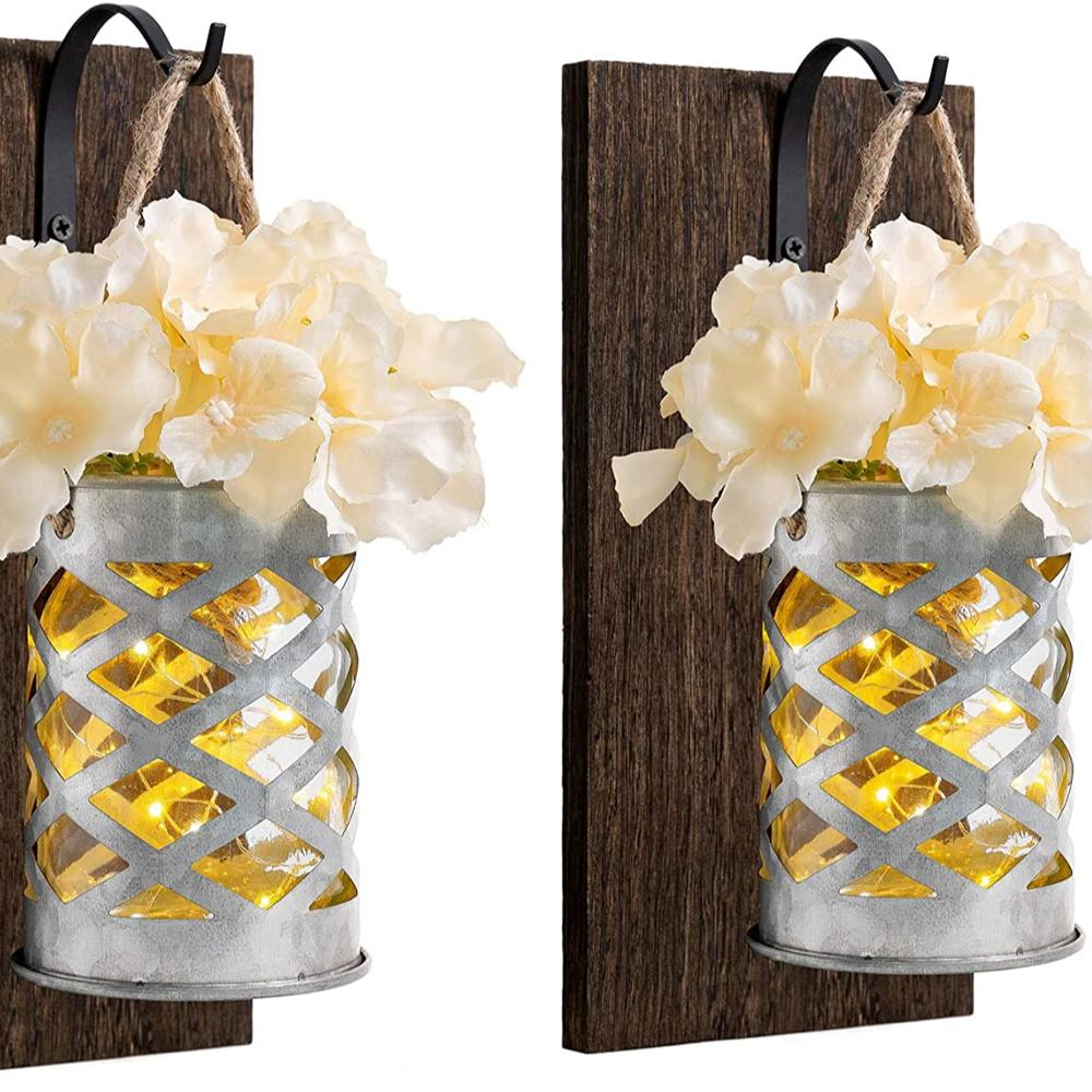 Mason Jar Sconce Wall Decor with Led Strip Lights Rustic Galvanized Metal Wall Vase and Hydrangea Flower Farmhouse Wall Sconces