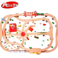 130pcs DELUXE wooden train set trains toys electric train set with sound feature