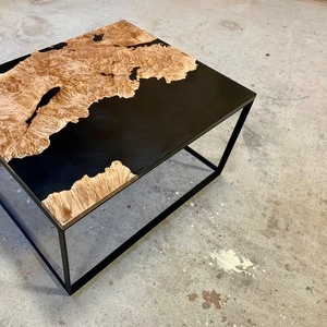 Industrial Black Epoxy Maple Burl Live Edge Resin Coffee Table