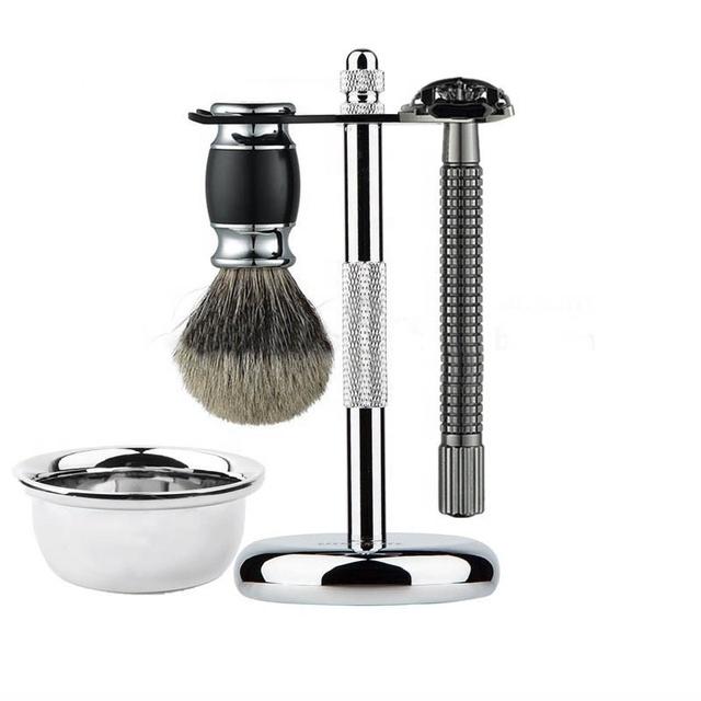 Barber Salon Shaving Brush Razor Stand Holder Stainless Steel Safety Razor Set Bowl Set Buy Shaving Set Product On Alibaba Com