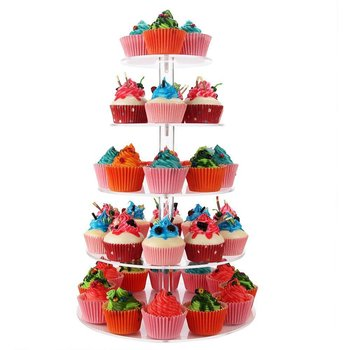 5 Tier Round Wedding Party Acrylic Cake Cupcake Tree Tower Maypole Display Stand
