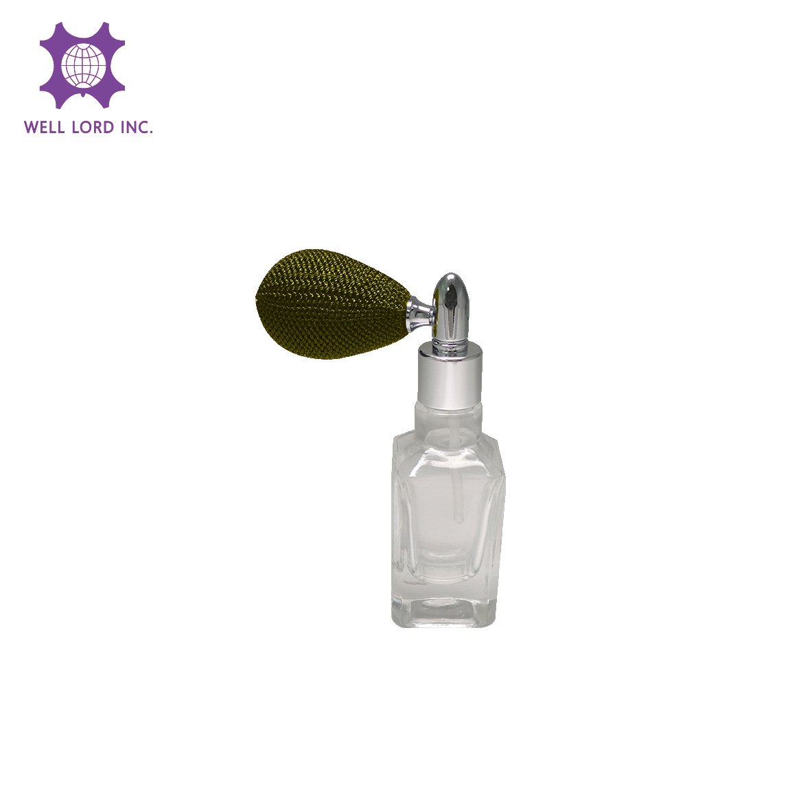 Unique design 13ml clear rectangle glass bottle with olive green bulb sprayer bottle