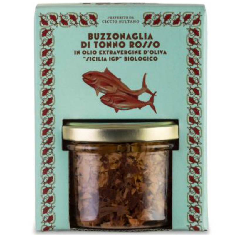 Canned 190 g Italian bluefin tuna pieces in extra virgin olive oil for seasoning appetizers and pasta in glass jar 190g