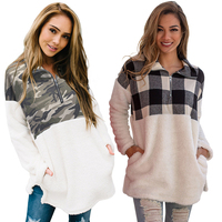 2019 High Quality Wholesale Women Fuzzy Plaid Detail Sweater Knitted Women Pullover