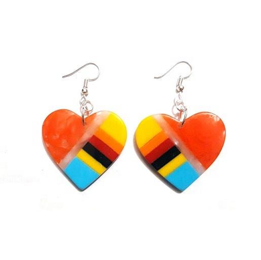 New Resin Inlay Heart Shape Drop Earrings Brand New Statement Acrylic Lucite  Earrings Women fashion jewelry