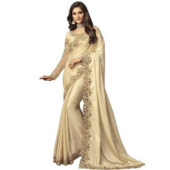Designer Beige Satin Silk Party Wear Trendy Saree