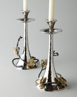 Gold Orchid Taper Candle holders Hammered Nickel Plated