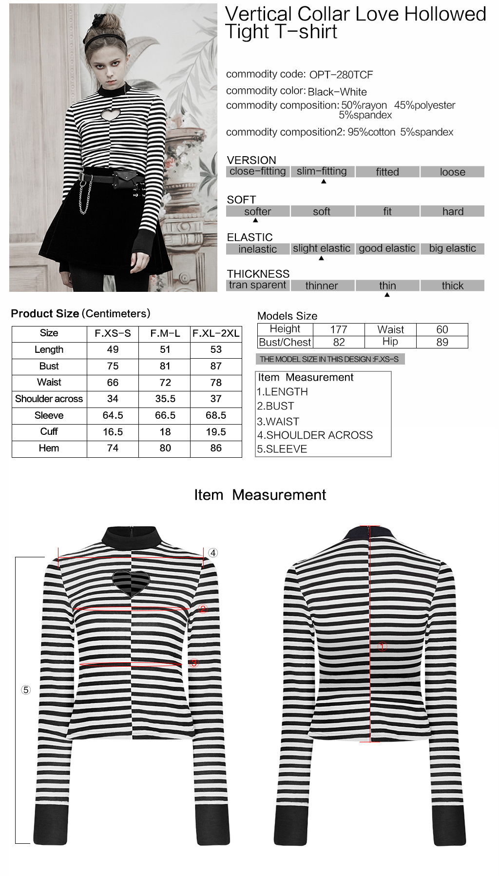 Punk Rave Gothic casual women's black white striped standing collar hollowed heart chest long sleeve top OPT-280
