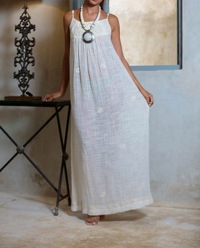Designer ladies Summer Embroidered Spaghetti Strap Beach Cotton White Long Maxi Dress