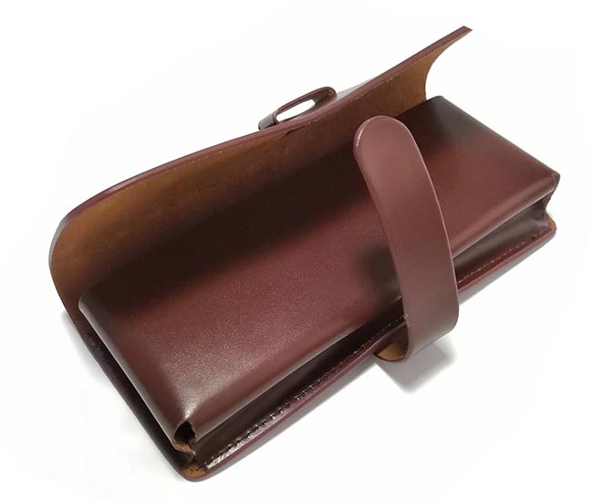 Custom hard second layer thick leather sunglasses case strap closure