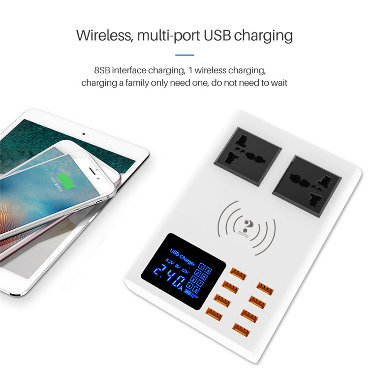 DP Smart USB Charger 40W with Universal AC Socket LED Display 8-Port Wireless Charging Adapter