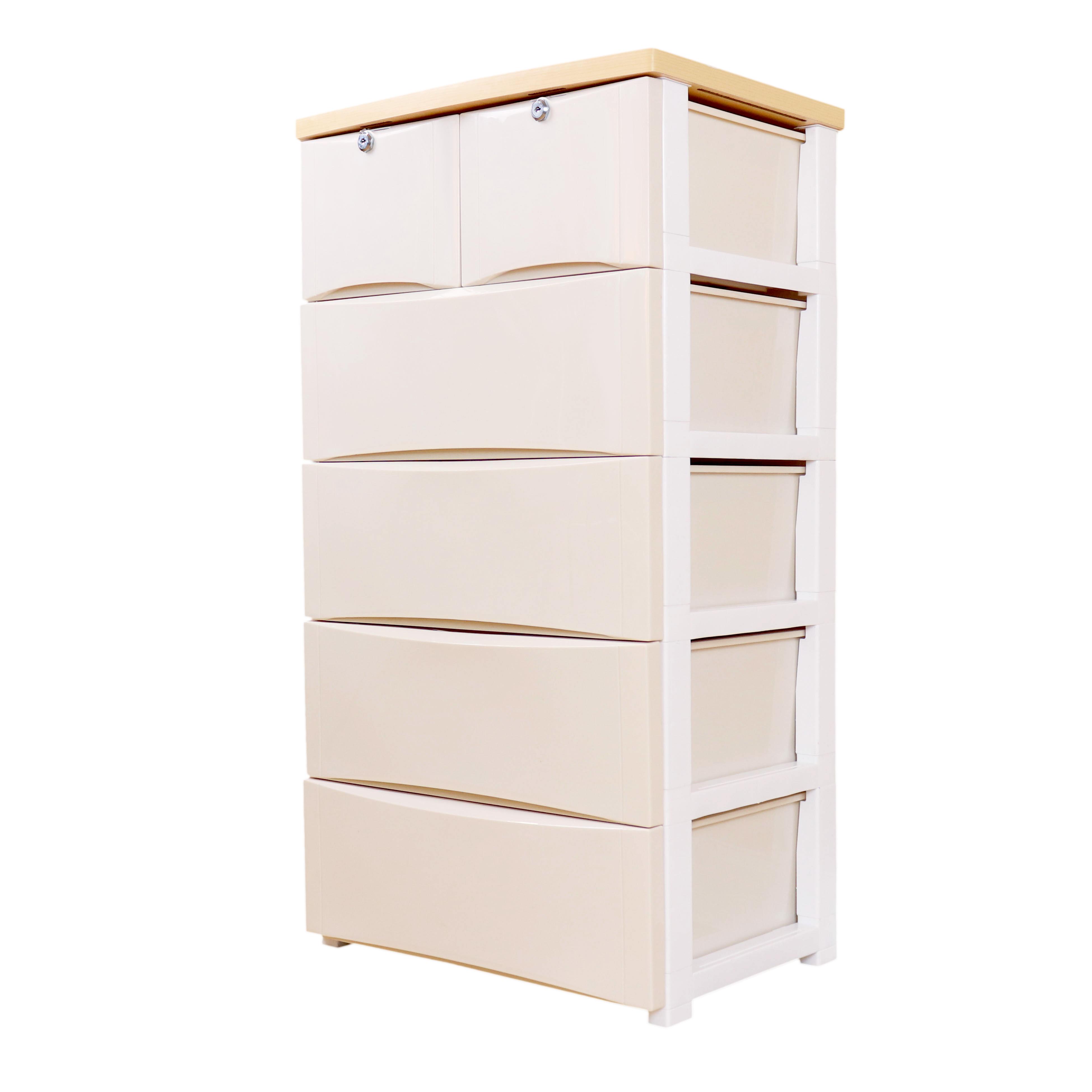 Wooden Top 5 Tiers Cabinet Plastic